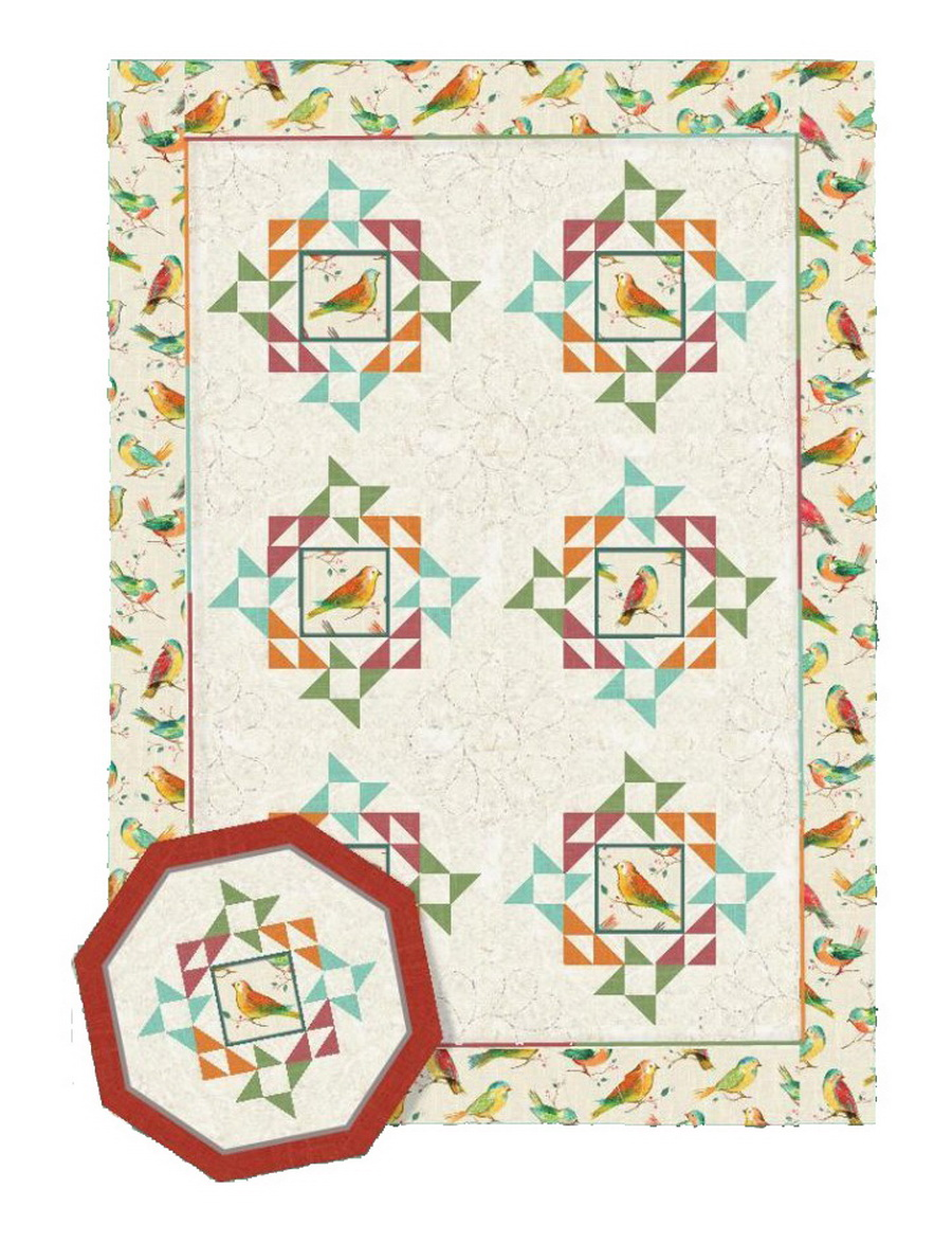 New Leaf Stitches All a Twitter Patter Duo II Nesting Quilt Fabric Kit