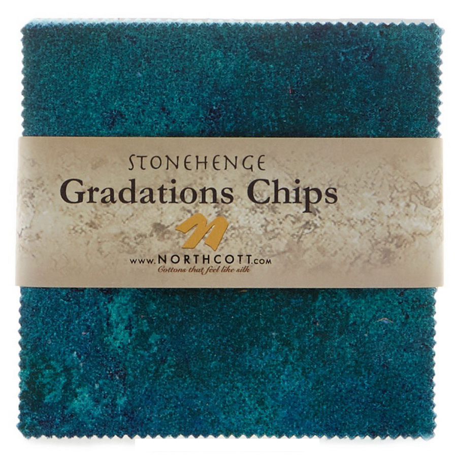 Stonehenge Gradations Brights Lagoon Chips - 5 inch Squares 42 Pieces