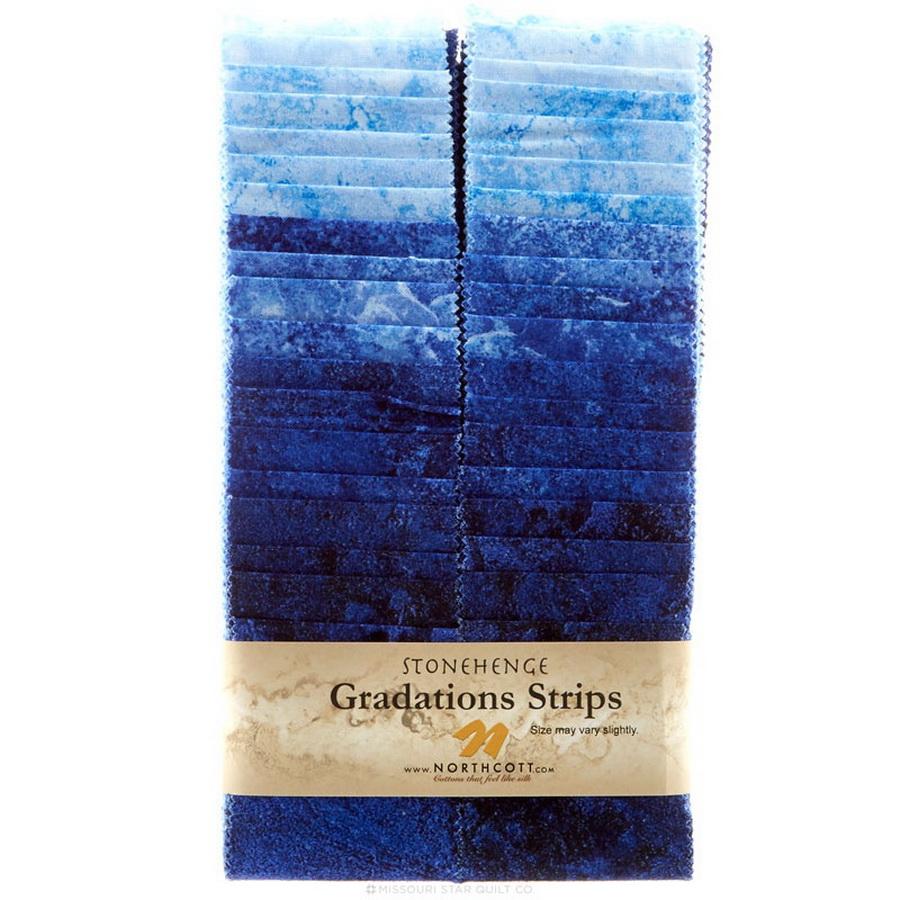 Stonehenge Gradations Brights Indigo - 2.5 inch wide Strips 40 Pieces