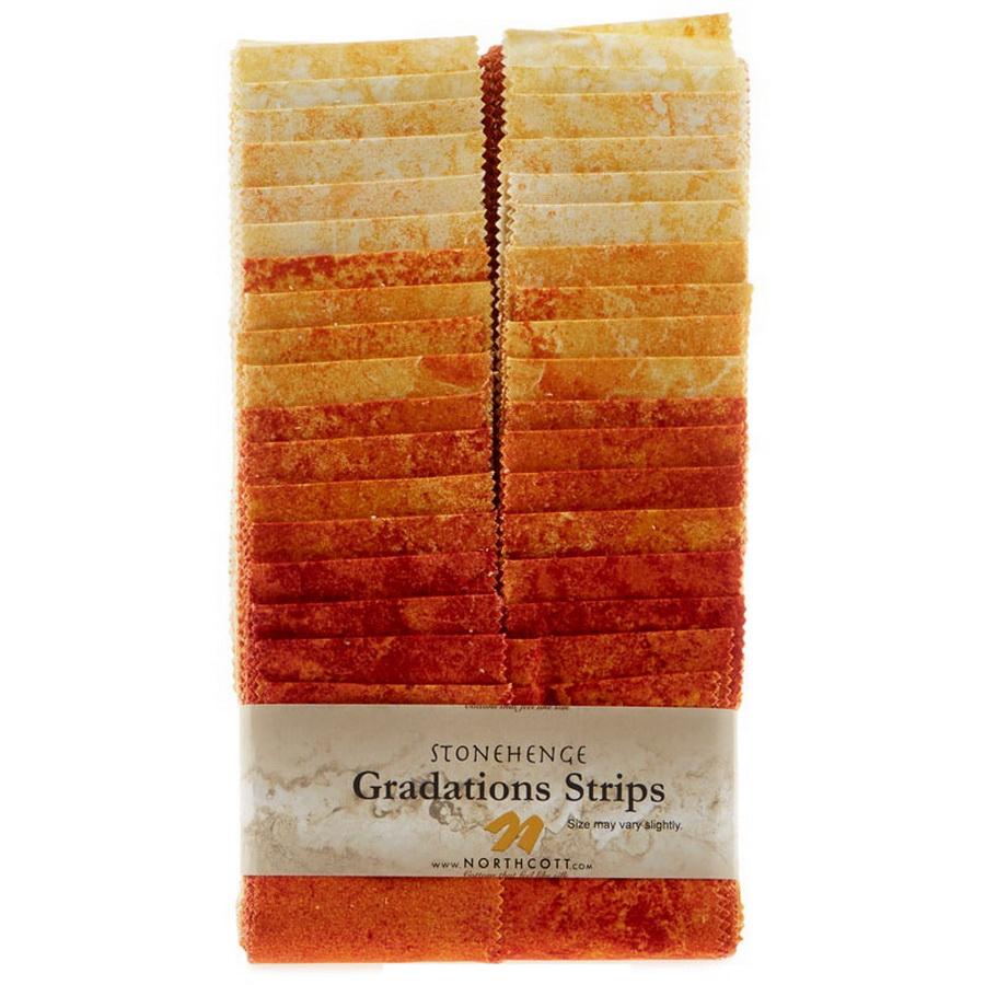 Stonehenge Gradations Brights Sunglow - 2.5 inch wide Strips 40 Pieces