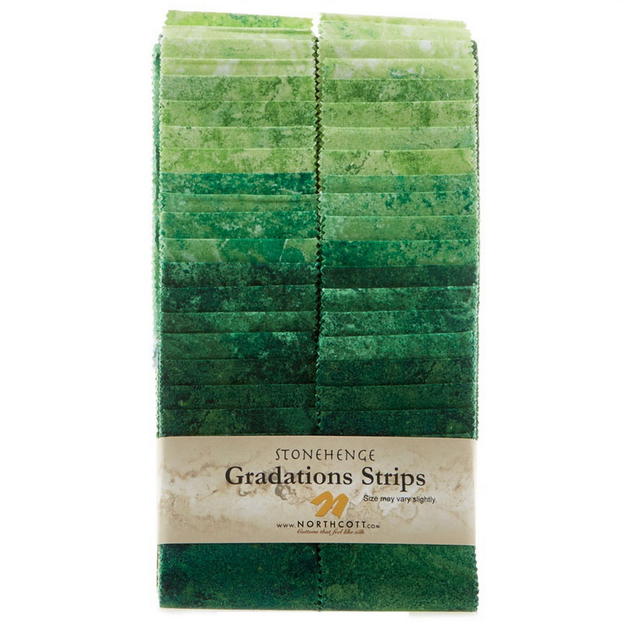 Stonehenge Gradations Brights Rainforest - 2.5 inch wide Strips 40 Pieces