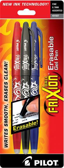 Frixion Erasable Gel Pen 3ct Black/Blue/Red