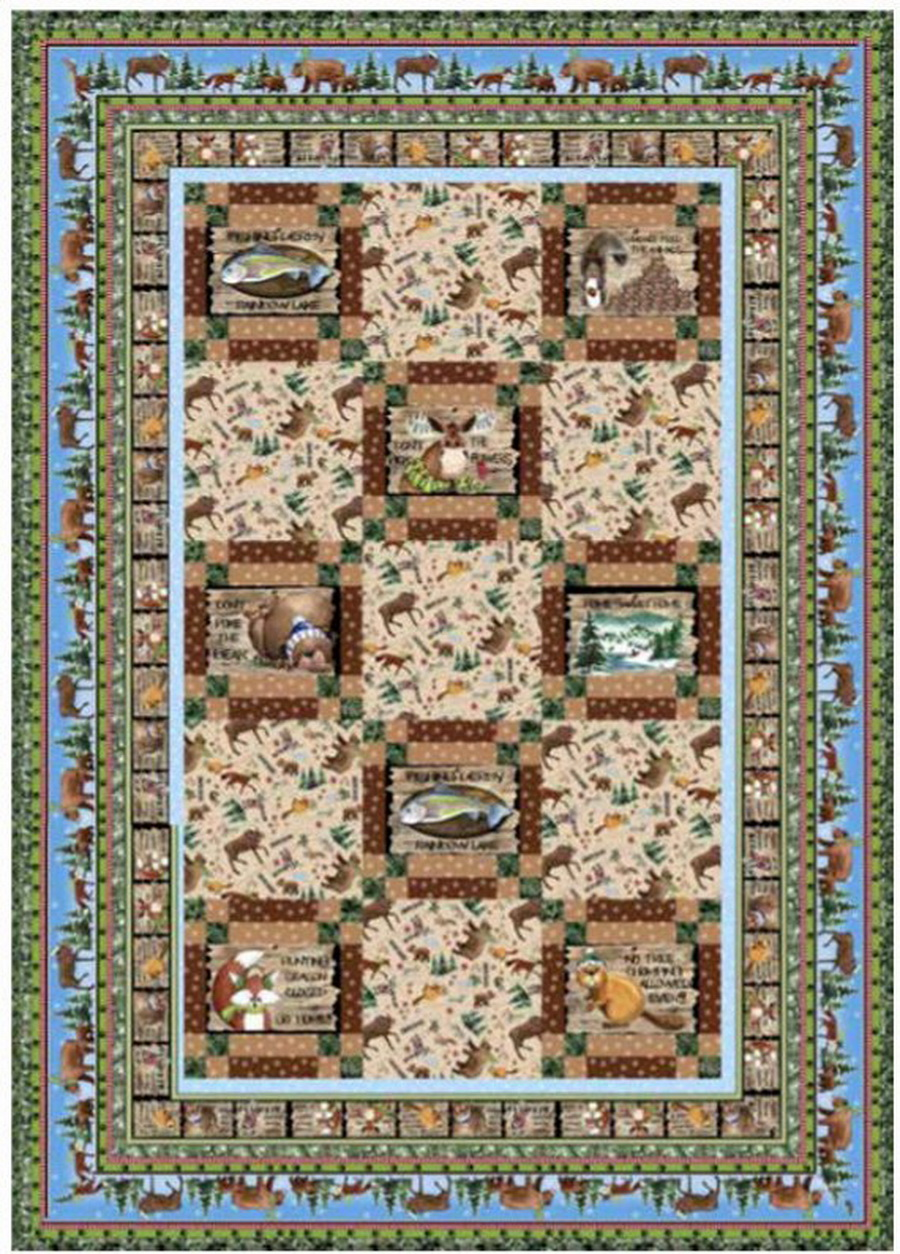 Quilting Treasures Fabrics North Woods Neighbors Quilt Fabric Kit by Cyndi Hershey