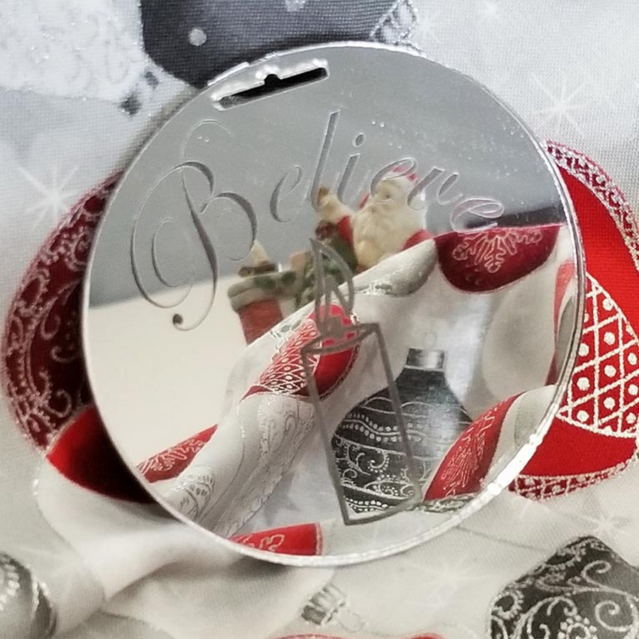 Quilter's Paradise Reflections Believe Mirrored Ornament