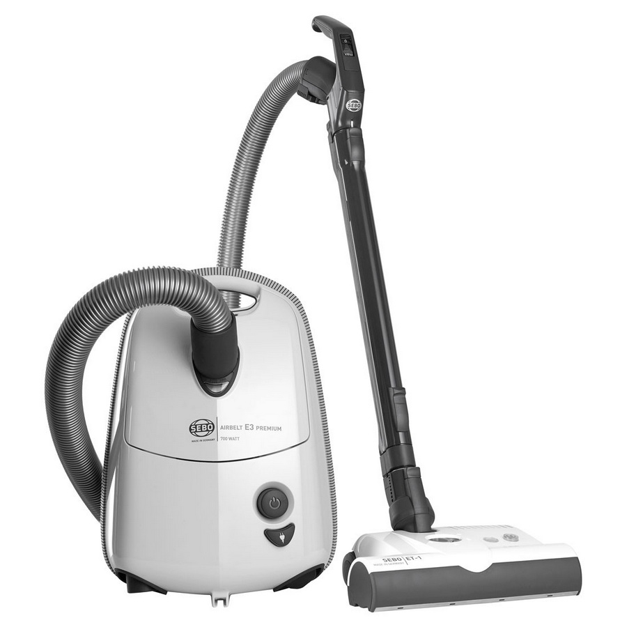 SEBO AIRBELT E3 Premium Canister Vacuum (Arctic White or Red)