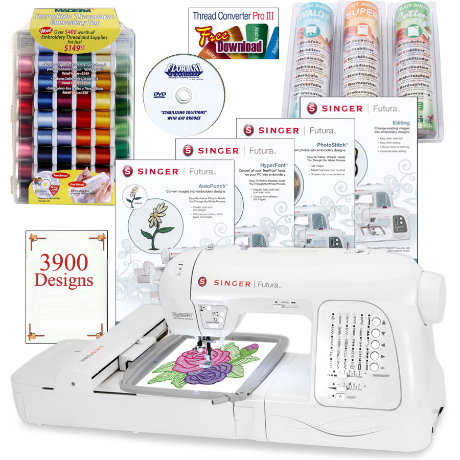Singer XL-420 Futura Embroidery Machine w/BONUS PACKAGE