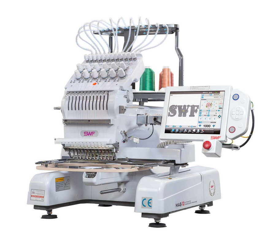 SWF MAS 12 Needle Embroidery Machine (Optional Cap and Stand Bundles Available)