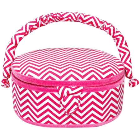 Small Oval Hot Pink Sewing Basket - Chevron Print