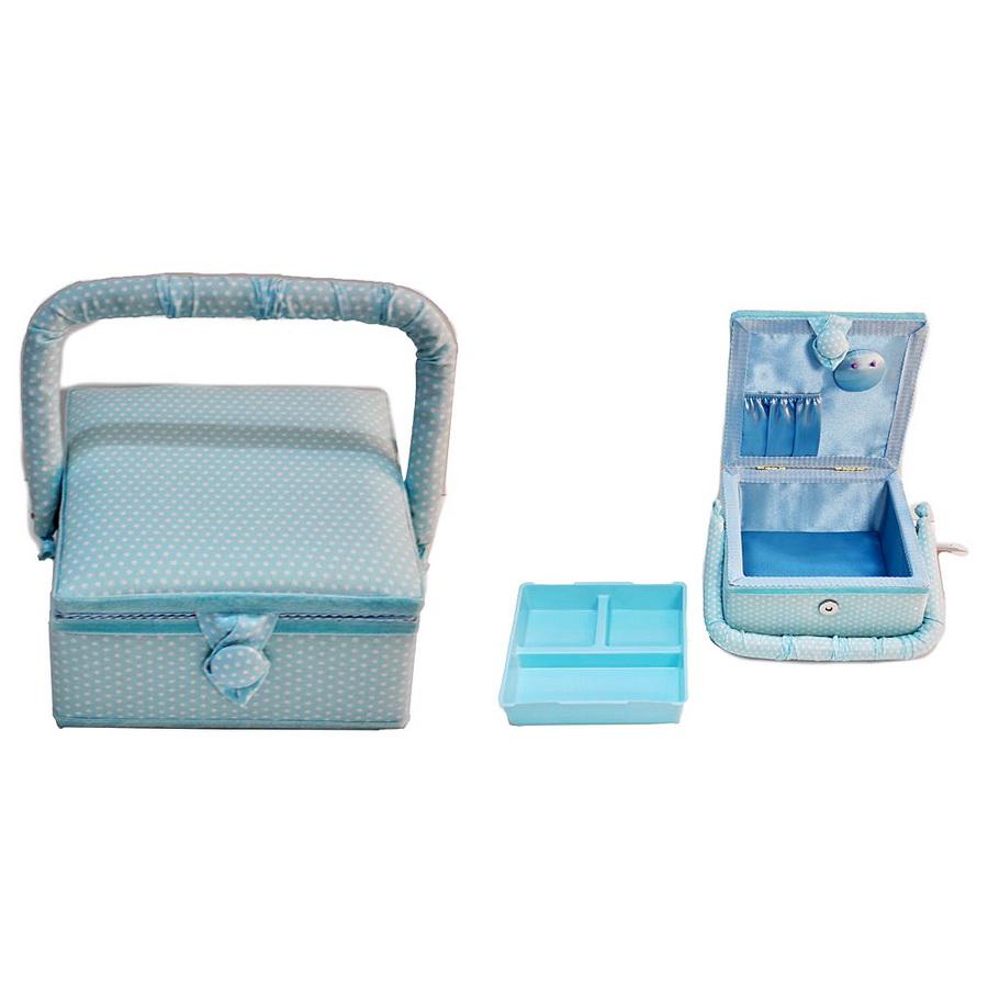 Small Square Aqua Sewing Basket - Polka Dot