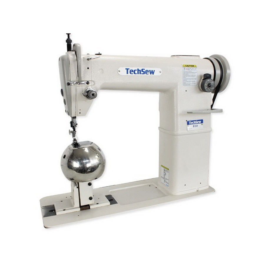 Techsew 810 Post Bed Roller Foot Industrial Sewing Machine with Wig Attachment, Assembled Table and Motor