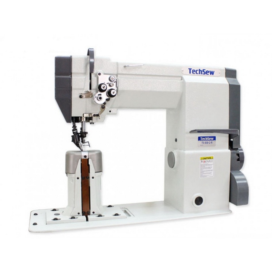 Techsew 830-2-R 2 Needle Post Bed Top and Bottom Roller Feed Industrial Sewing Machine with Assembled Table and Motor