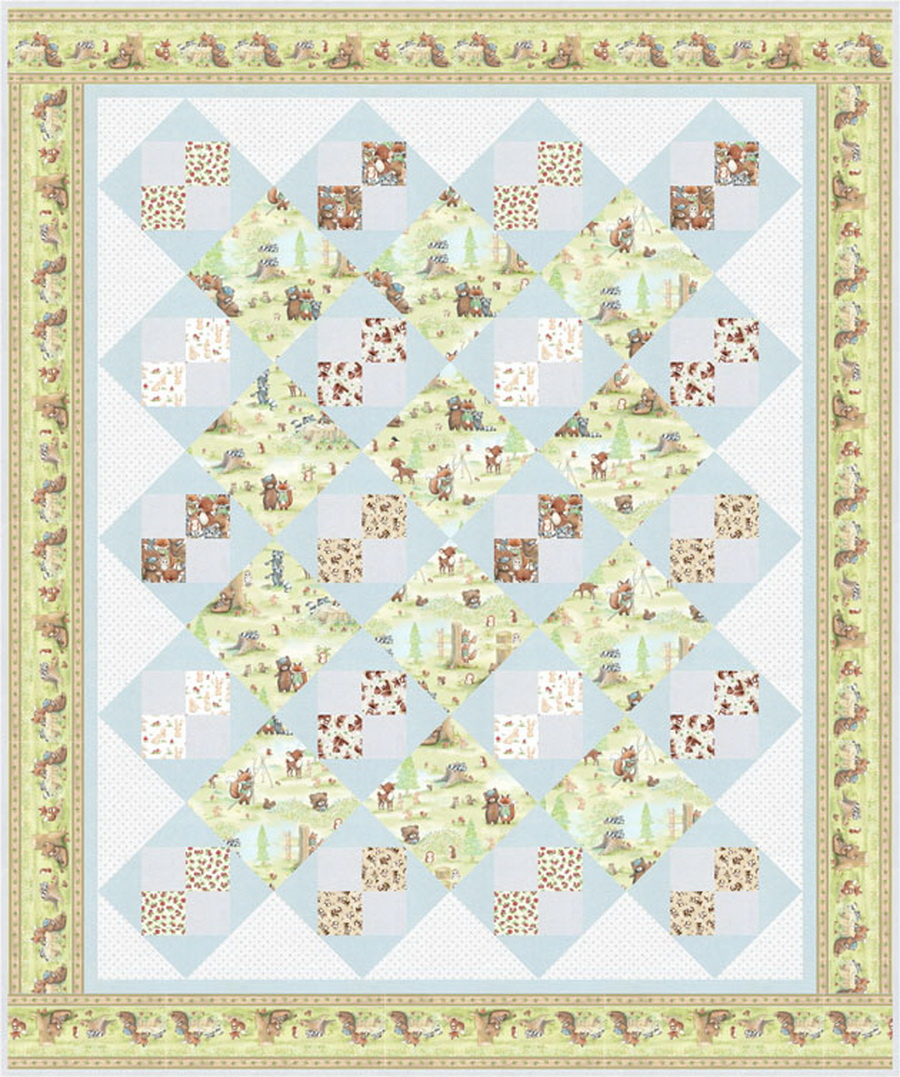 Timeless Treasures Camp Cricket Nap Time Quilt Fabric Kit by Denise Russell