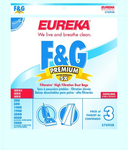 Eureka High Filtration Disposable Dust Bags, Type F and G, Pack of 3