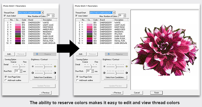 The ability to reserve colors makes it easy to edit and view thread colors