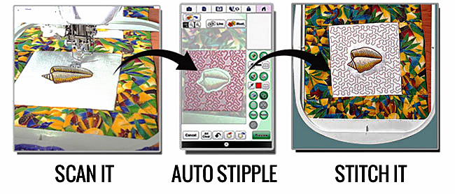Scan it. Auto Stipple. Stitch it.
