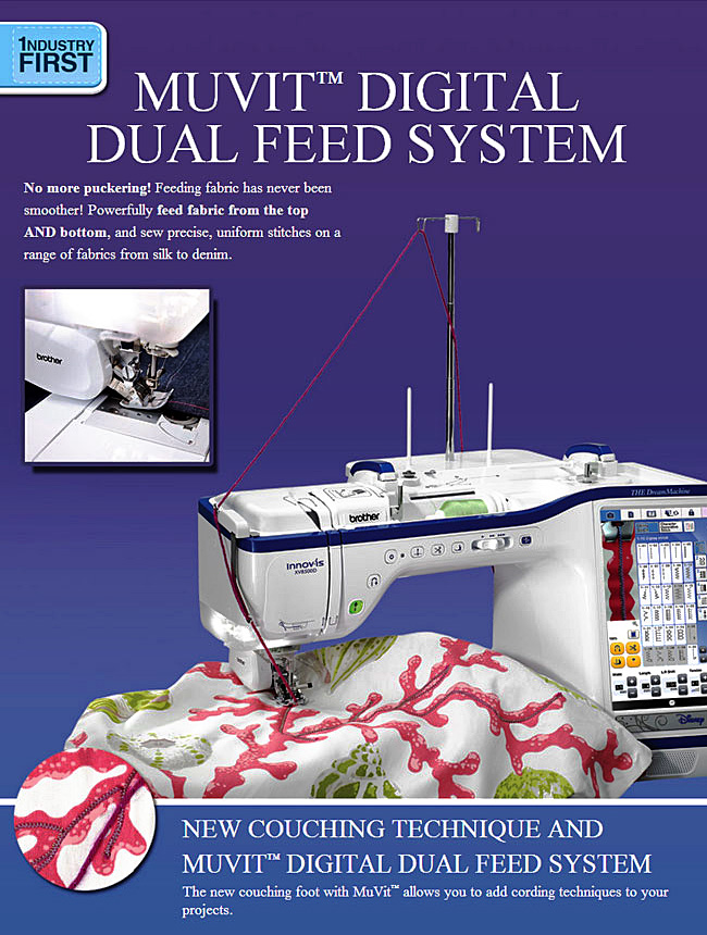MUVIT Digital Dual Feed System. No more puckering! Feeding fabric has never been smoother! Powerfully feed fabric from the top and bottom, and sew precise, uniform stitches on a range of fabrics from silk to denim