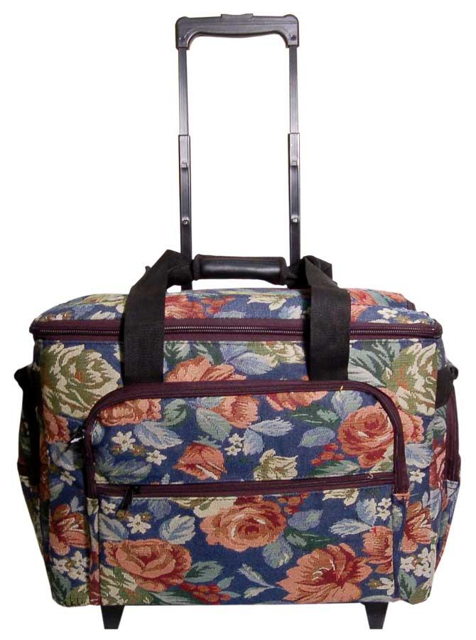 Hemline 2pcs Blue Floral Tapestry Trolley Bag
