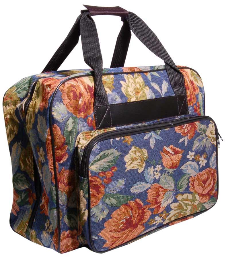 Hemline Blue Floral Sewing Machine Tote Bag