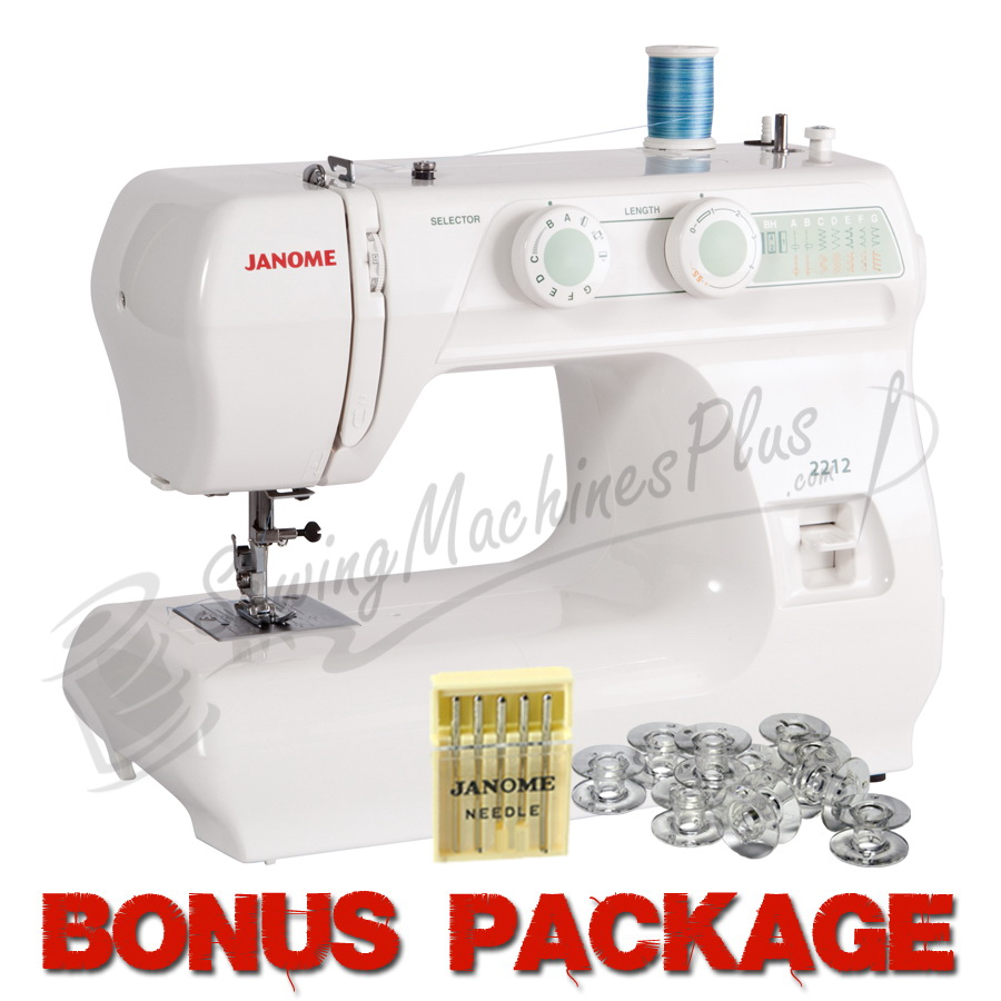 Janome 2212 12 Stitch Full Size Freearm Sewing Machine & FREE BONUS