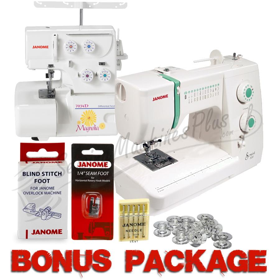Janome Sewist 500 and Magnolia 7034D 3/4 Serger Package & FREE BONUS