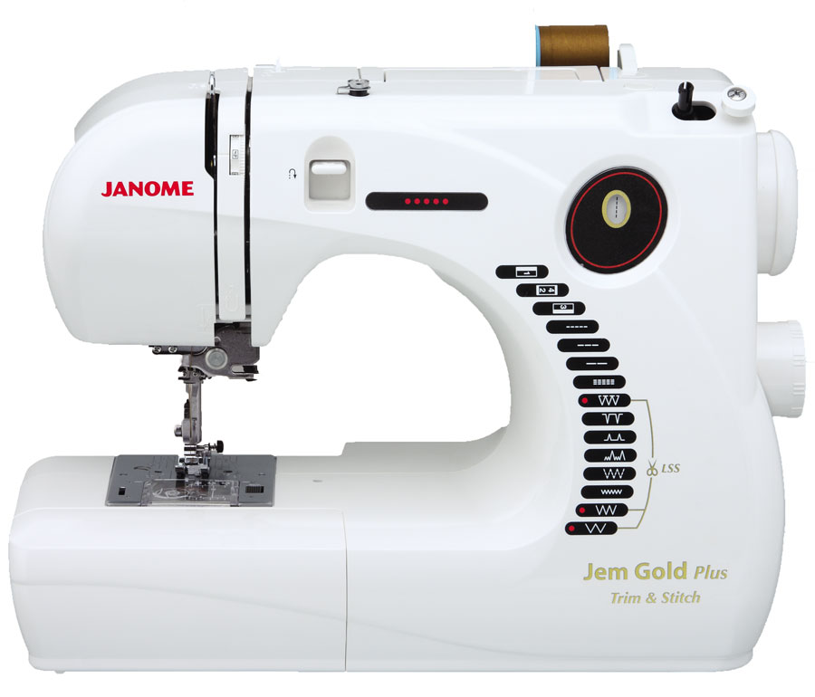 Janome Jem Gold Plus Portable Sewing Machine with Light Serging System