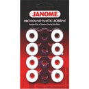 Janome Class 15 Pre-wound 12 Pack of Plastic Bobbins - Black & White