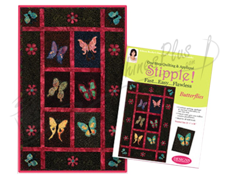 Stipple! butterflies one step quilting and applique designs in
