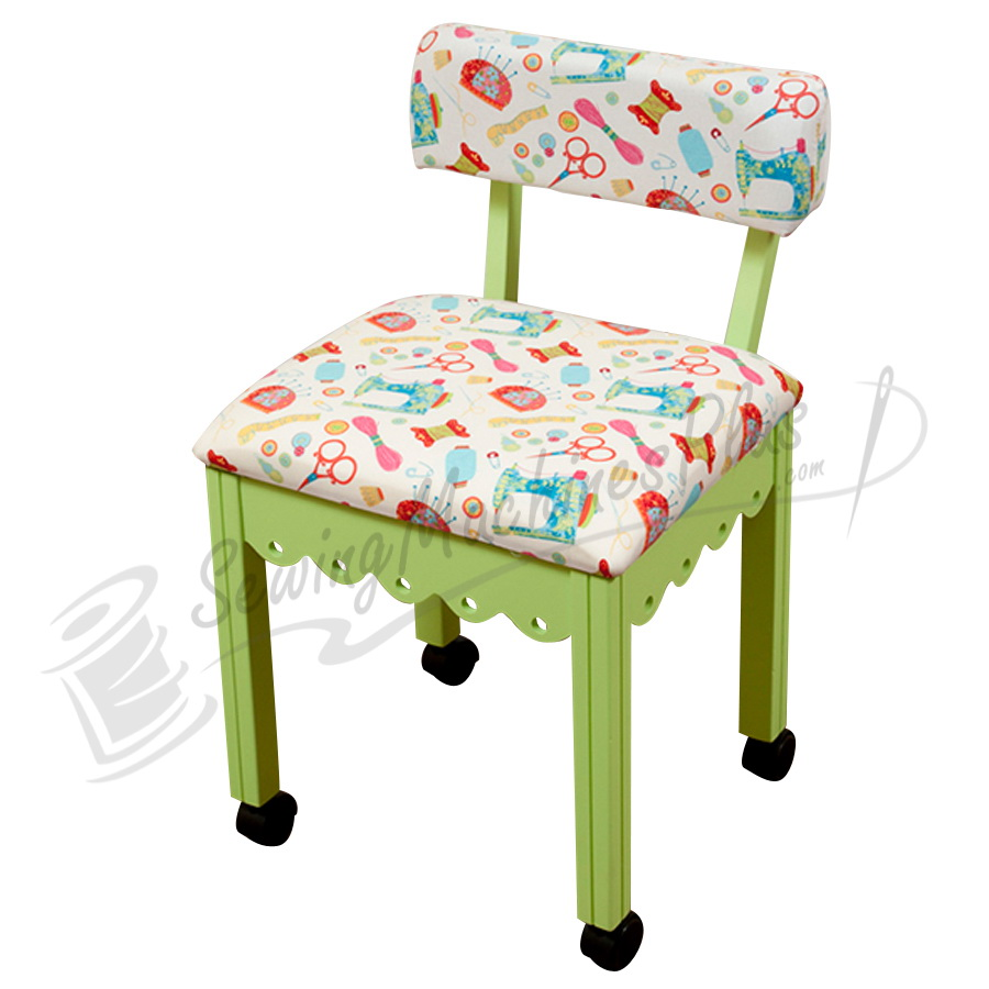 sewing chair white riley blake fabric on green 7014w