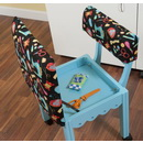 Arrow Sewing Chair Black Riley Blake fabric on Blue 7019B