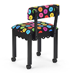 Arrow Sewing Chair with Button Fabric on Black 8013