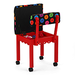 Arrow Sewing Chair with Button Fabric on Red 8016