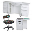 Kangaroo Kabinets Bandicoot Cabinet White Ash b8211 Studio Set With Kiwi Storage Cabinet And Arrow Hydraulic Sewing Chair