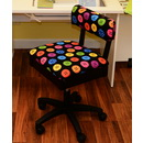 Photo of Arrow Height Adjustable Hydraulic Sewing Chair H8013 (Button Fabric) from Heirloom Sewing Supply