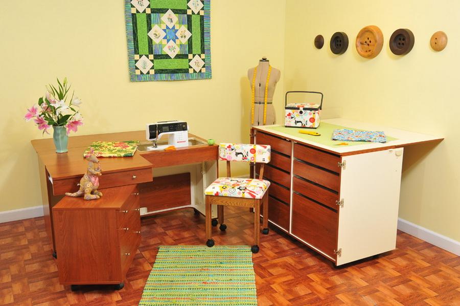 Kangaroo Kabinets Studio Combo TEAK Kangaroo & Joey Sewing Cabinets