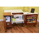 Kangaroo Kabinets Wallaby II Studio Wallaby Air Lift and Dingo II Sewing Cabinet Set TEAK (WS-TEAK)