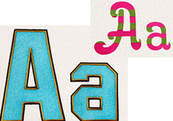 """Two Extra-Large, 6"""" Embroidery Alphabets"""