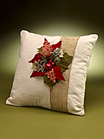 Burlap Poinsettia Pillow
