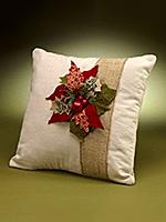 Burlap Poinsettia Pillow