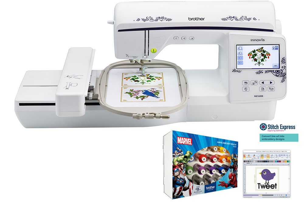 Brother Innov Is Nq1600e Embroidery Machine Free Frozen Thread Kit And Initial Stitch Software