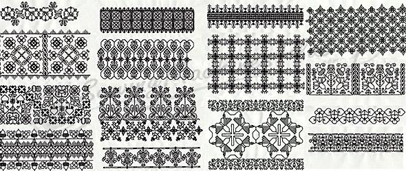 B Studio Designs Elizabethan Blackwork Borders Bg0120003b