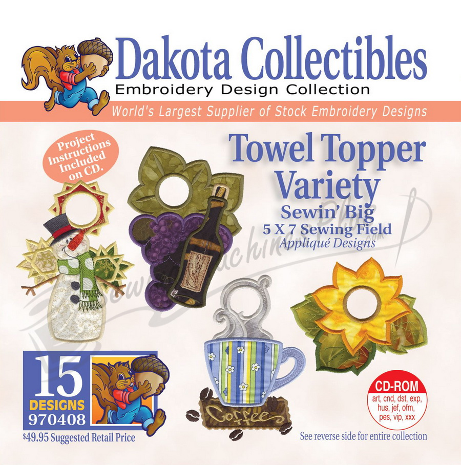 Dakota Collectibles Towel Topper Variety Embroidery Designs 970408