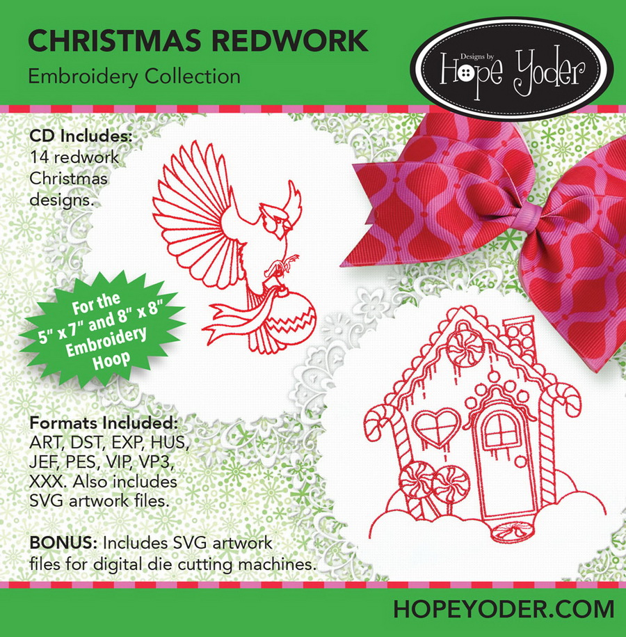 Christmas Redwork Embroidery CD w/SVG - Designs by Hope Yoder