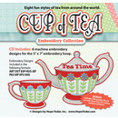 Cup of Tea Embroidery CD w/SVG - Designs by Hope Yoder