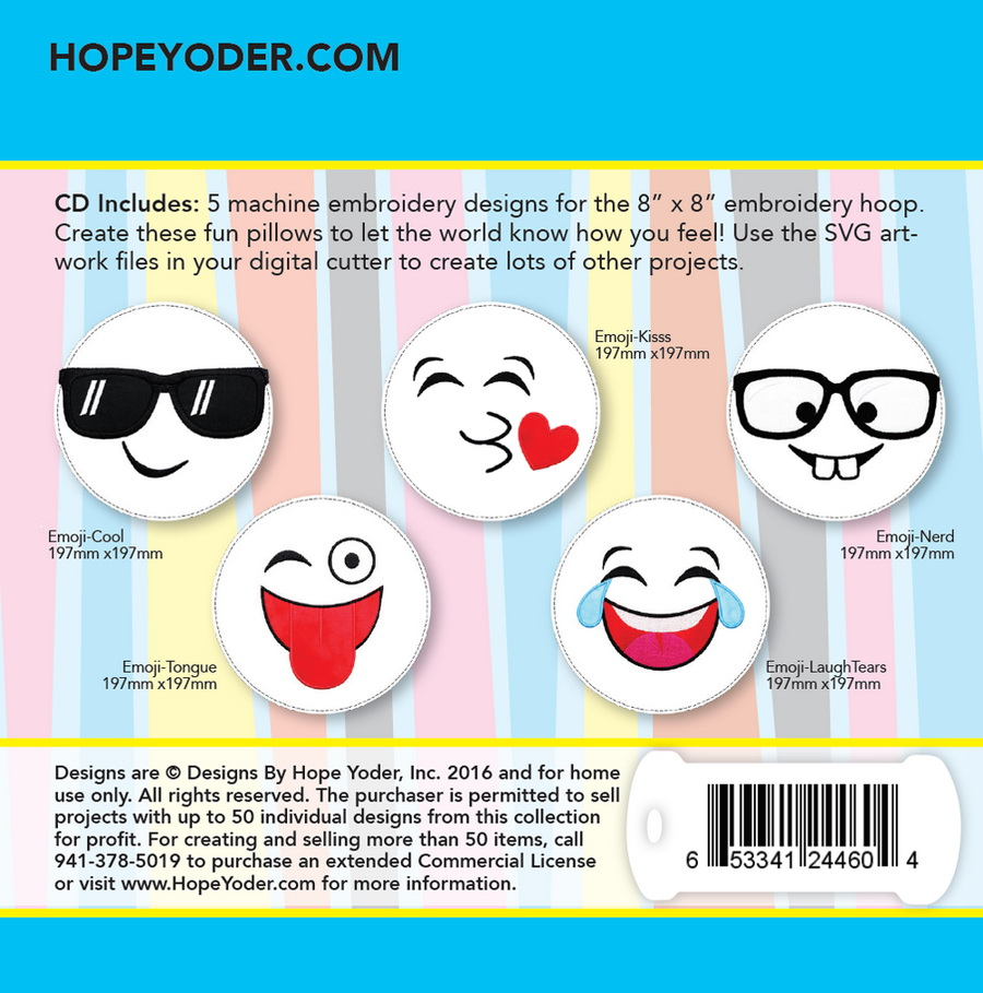 Emojis Pillow Palz Embroidery CD w/SVG - Designs by Hope Yoder