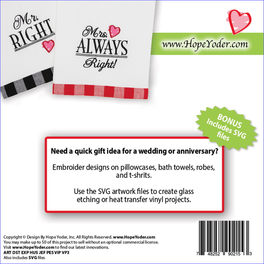 Mr  Right & Mrs  Always Right Embroidery CD w/SVG - Designs