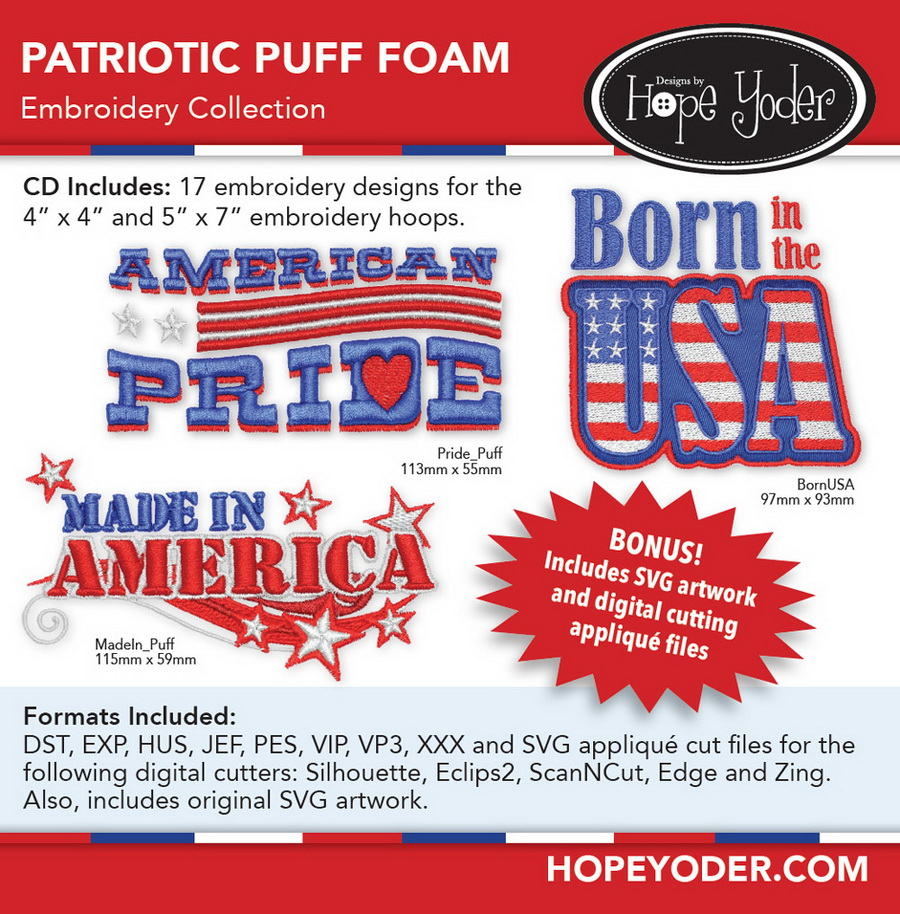 Patriotic Puff Foam Embroidery CD w/SVG - Designs by Hope Yoder