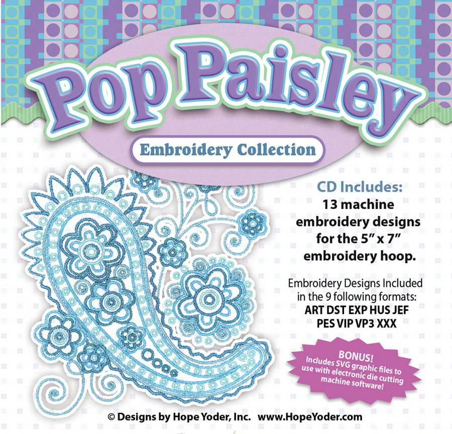 Pop Paisley Embroidery Cd W Svg Designs By Hope Yoder