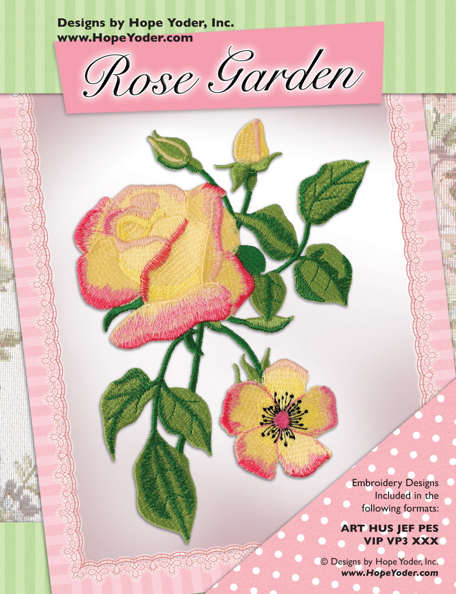 Rose garden embroidery cd designs by hope yoder for Garden embroidery designs