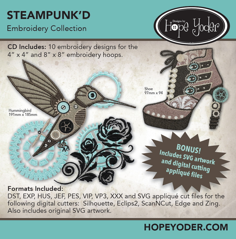 SteampunkD Embroidery CD w/SVG