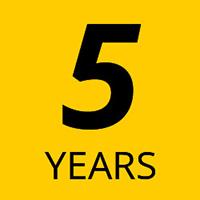 5 year manufacturer's warranty